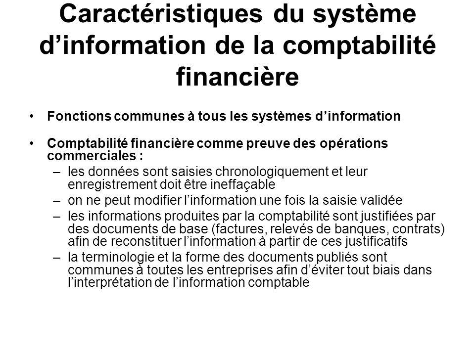 Caractéristiques du système d'information de la comptabilité financière