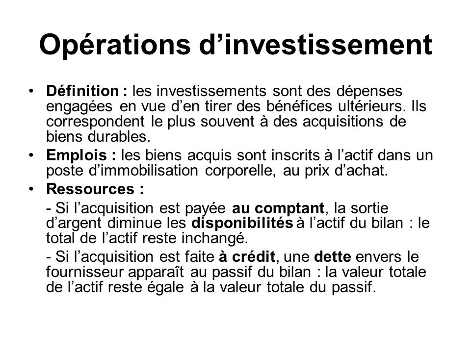 Opérations d'investissement