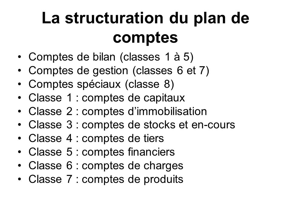 La structuration du plan de comptes