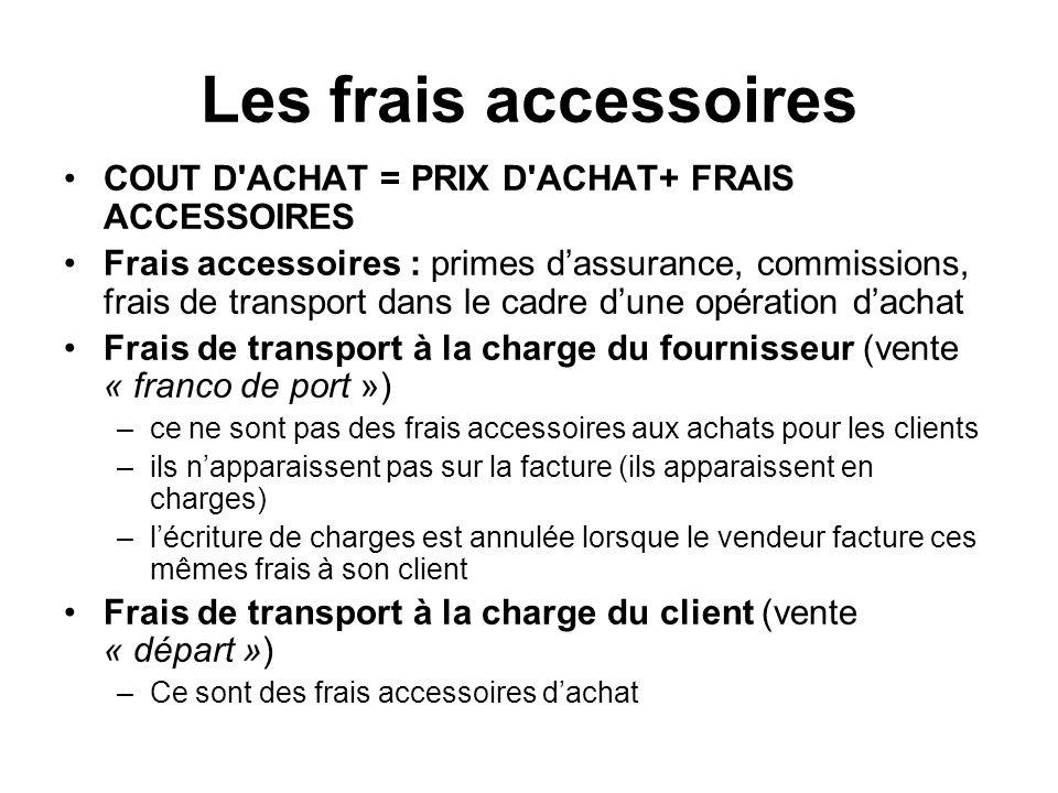 Les frais accessoires COUT D ACHAT = PRIX D ACHAT+ FRAIS ACCESSOIRES