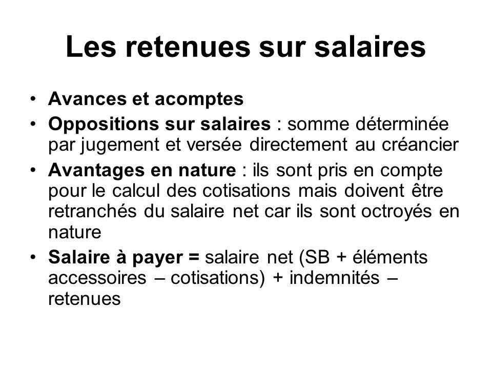 Les retenues sur salaires