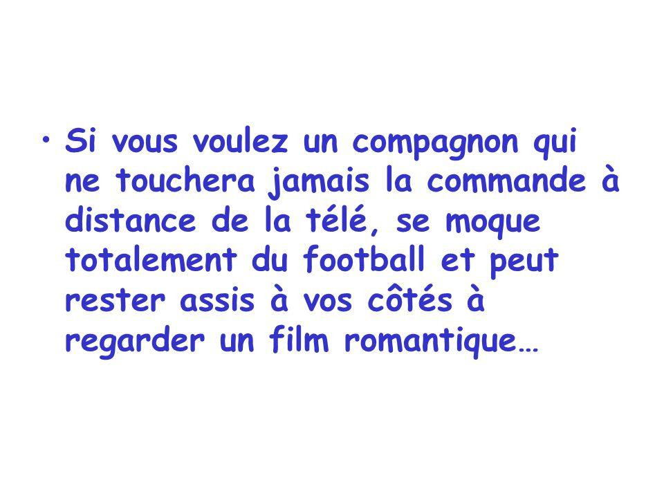 Si vous voulez un compagnon qui ne touchera jamais la commande à distance de la télé, se moque totalement du football et peut rester assis à vos côtés à regarder un film romantique…