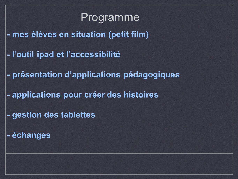 Programme - mes élèves en situation (petit film)