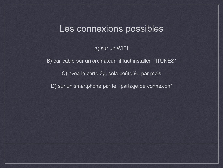 Les connexions possibles a) sur un WIFI B) par câble sur un ordinateur, il faut installer ITUNES C) avec la carte 3g, cela coûte 9.- par mois D) sur un smartphone par le partage de connexion
