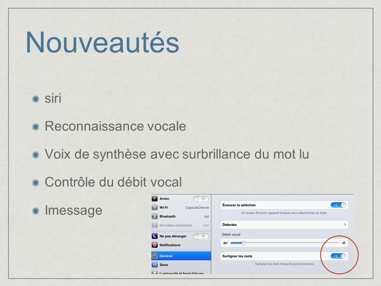 Nouveautés siri Reconnaissance vocale