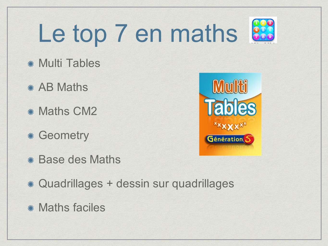 Le top 7 en maths Multi Tables AB Maths Maths CM2 Geometry