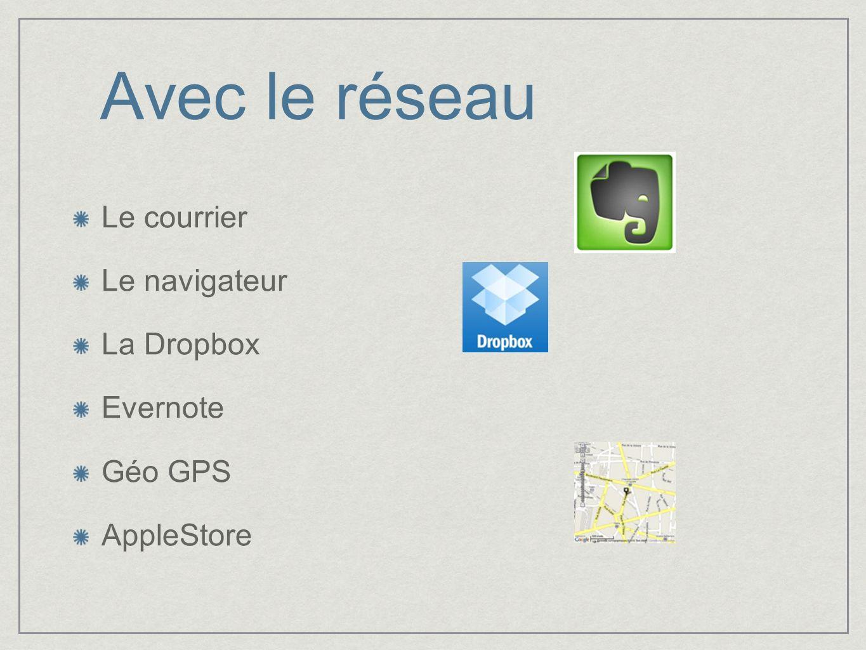 Avec le réseau Le courrier Le navigateur La Dropbox Evernote Géo GPS