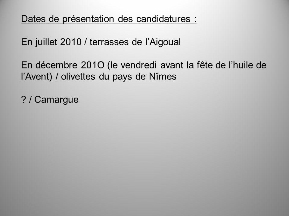 Dates de présentation des candidatures :