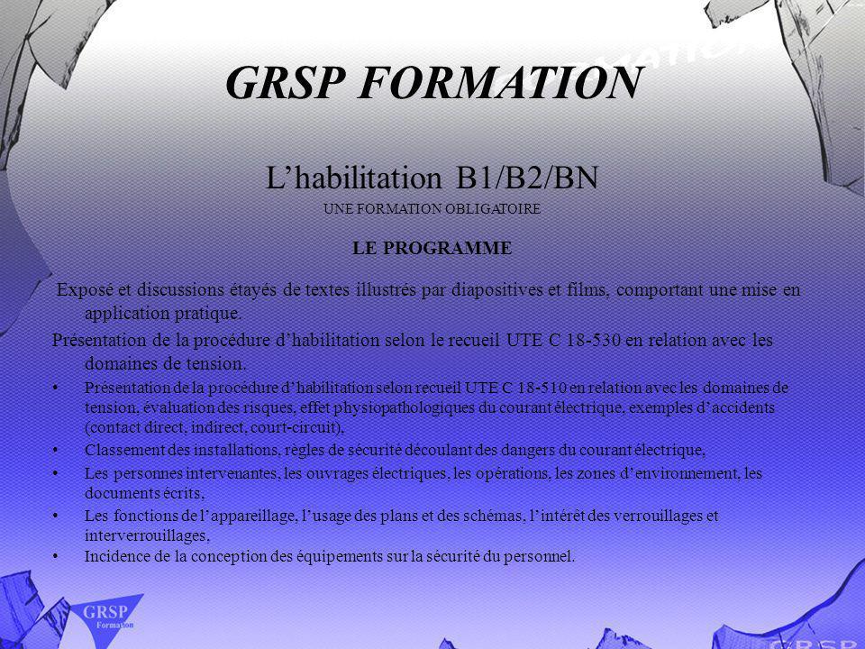 GRSP FORMATION L'habilitation B1/B2/BN LE PROGRAMME