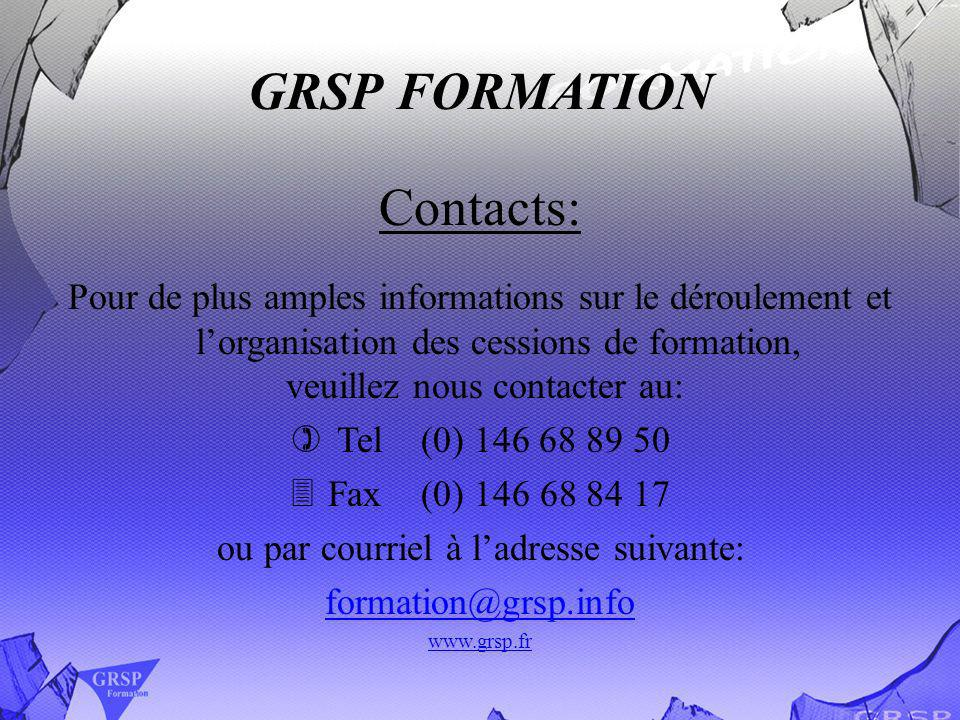 GRSP FORMATION Contacts: