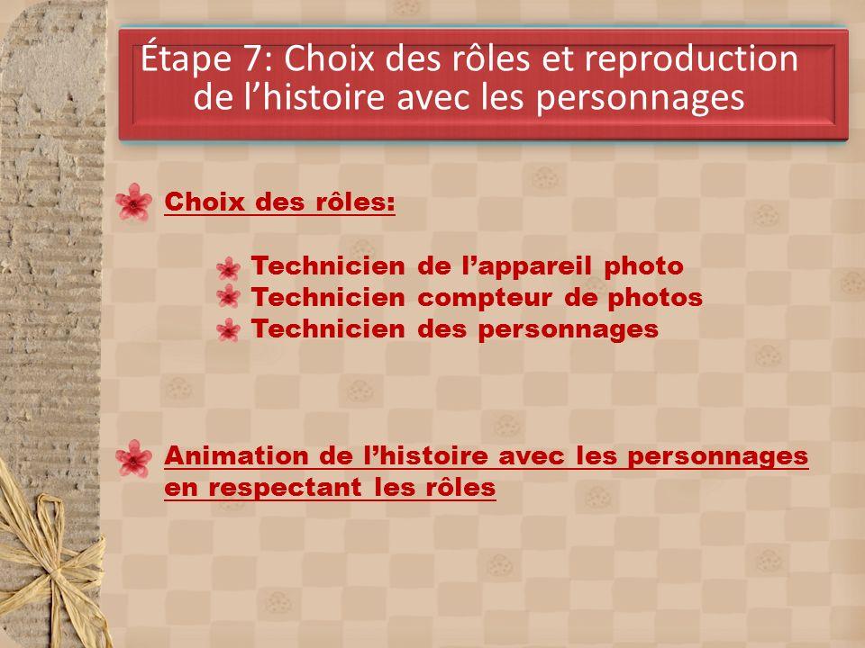 Étape 7: Choix des rôles et reproduction de l'histoire avec les personnages
