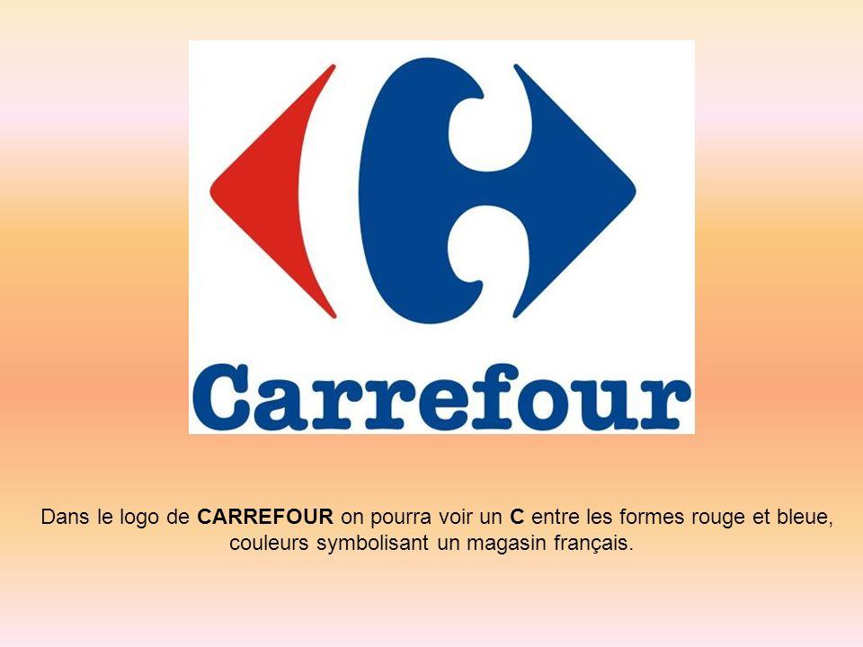 Dans le logo de CARREFOUR on pourra voir un C entre les formes rouge et bleue, couleurs symbolisant un magasin français.