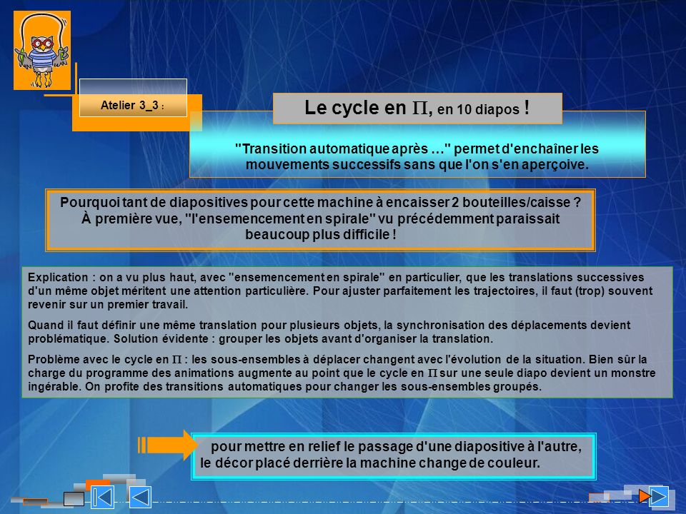 Atelier 3_3 : Le cycle en , en 10 diapos !