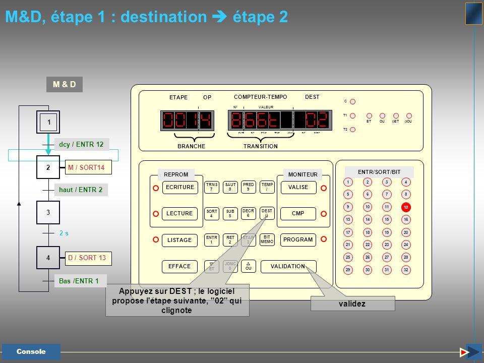 M&D, étape 1 : destination  étape 2
