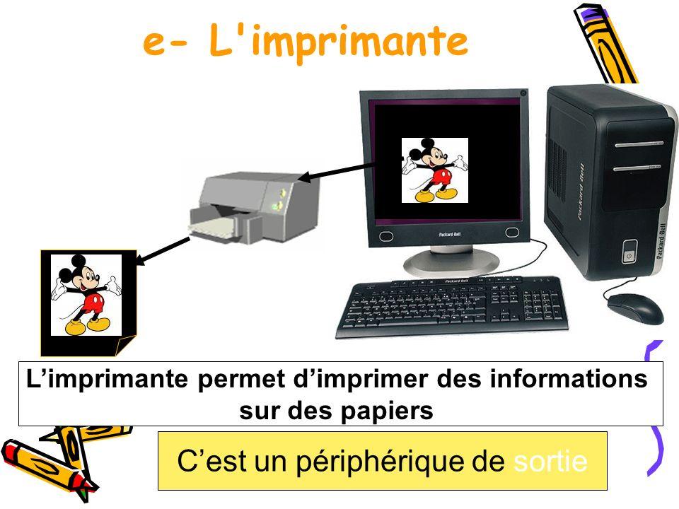 L'imprimante permet d'imprimer des informations