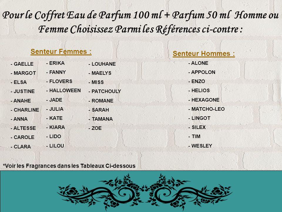 Pour le Coffret Eau de Parfum 100 ml + Parfum 50 ml Homme ou Femme Choisissez Parmi les Références ci-contre :