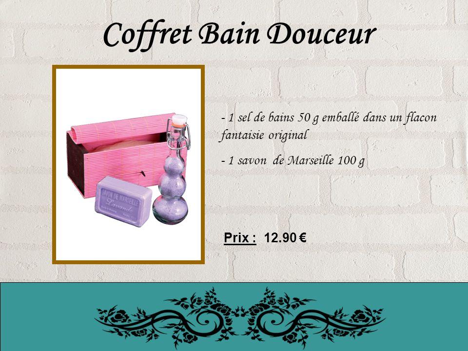 Coffret Bain Douceur 1 sel de bains 50 g emballé dans un flacon fantaisie original. 1 savon de Marseille 100 g.