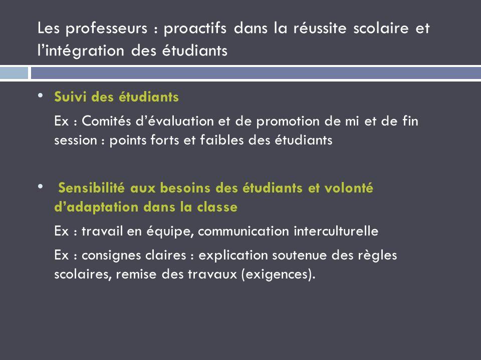 Les professeurs : proactifs dans la réussite scolaire et l'intégration des étudiants