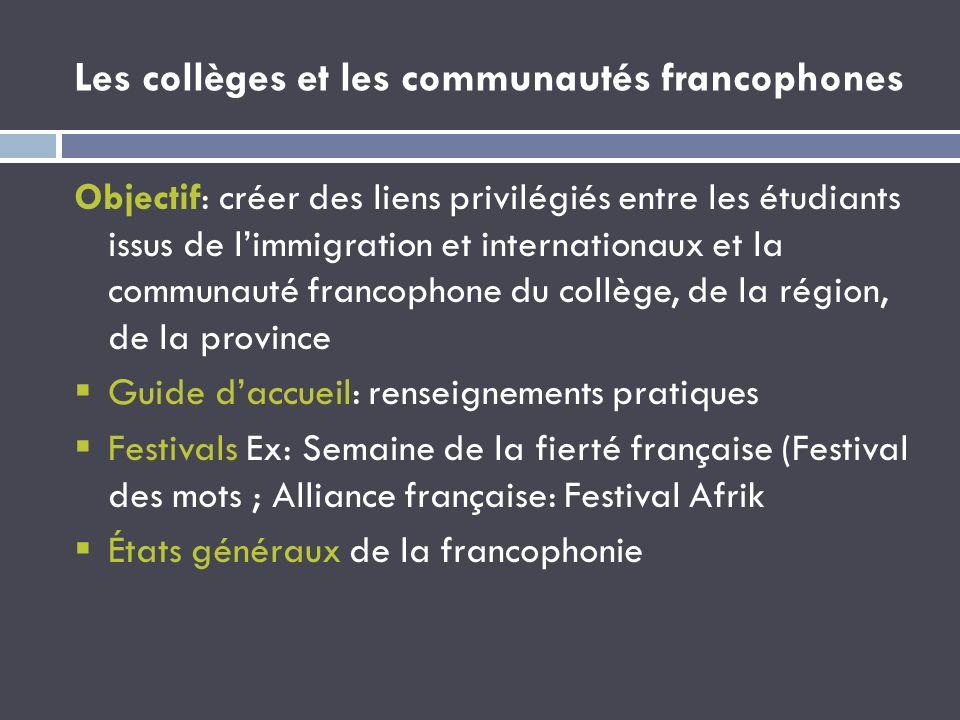 Les collèges et les communautés francophones