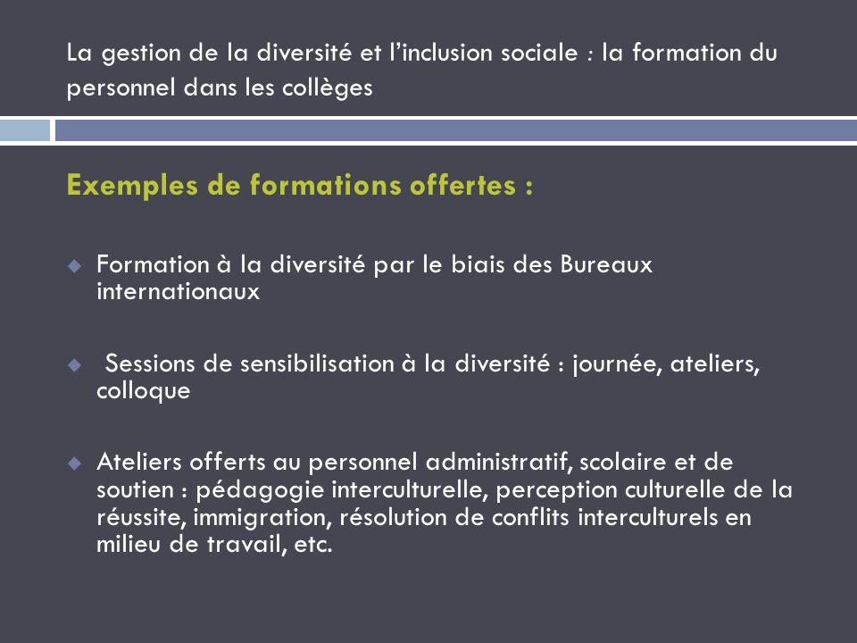 Exemples de formations offertes :