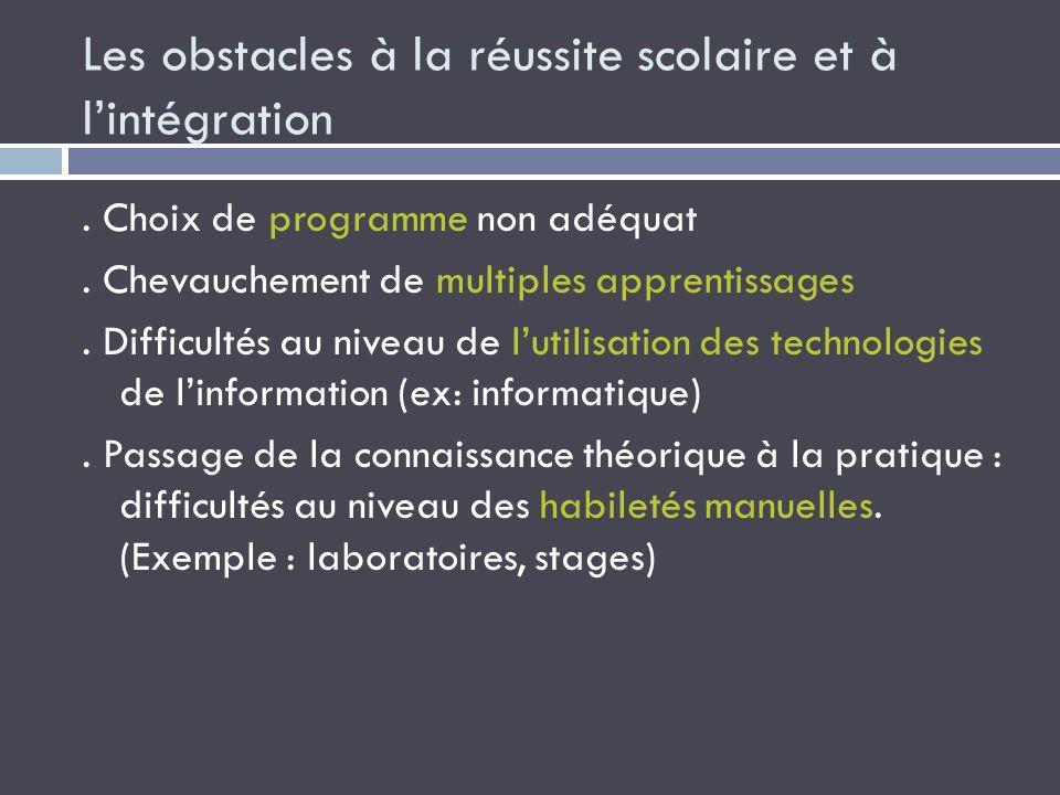 Les obstacles à la réussite scolaire et à l'intégration