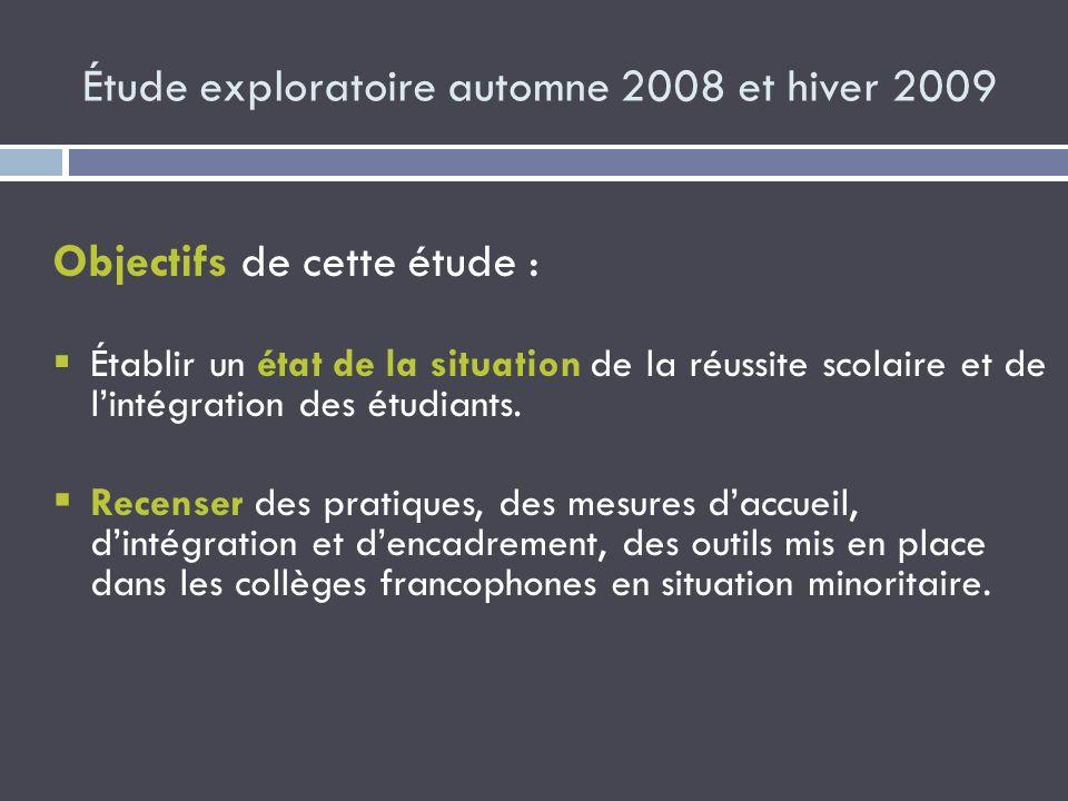 Étude exploratoire automne 2008 et hiver 2009