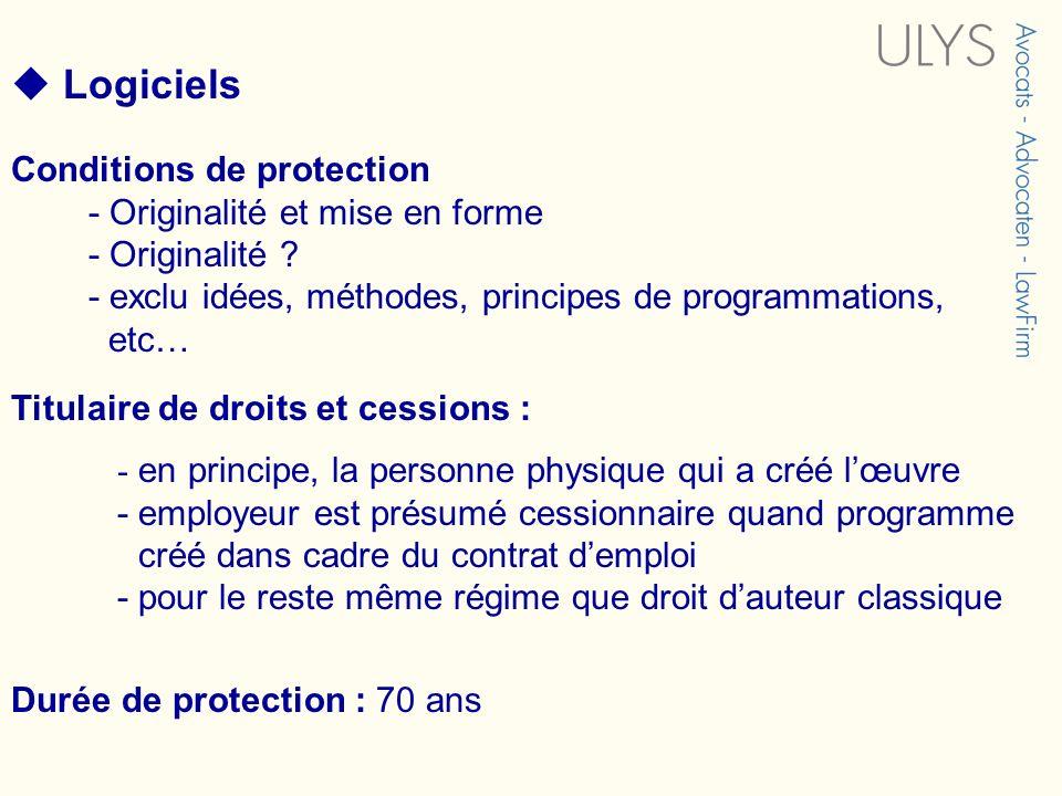  Logiciels Conditions de protection - Originalité et mise en forme