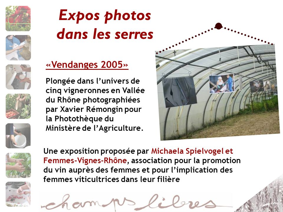 Expos photos dans les serres