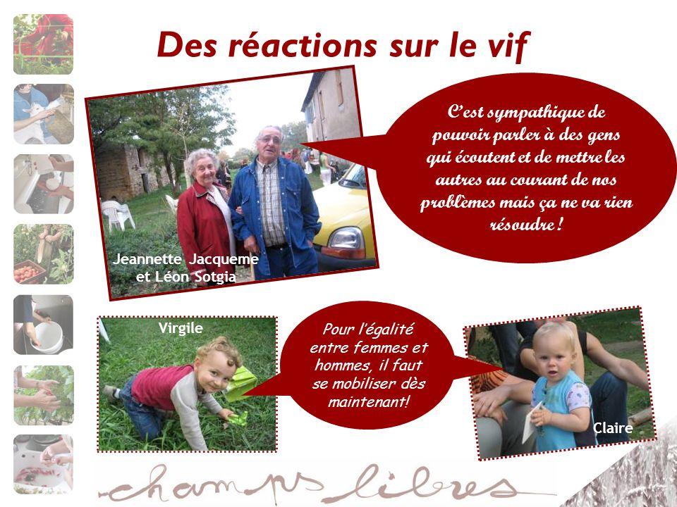 Des réactions sur le vif Jeannette Jacqueme et Léon Sotgia