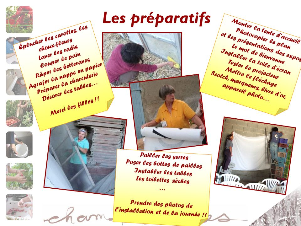 Les préparatifs Monter la tente d'accueil Photocopier le plan