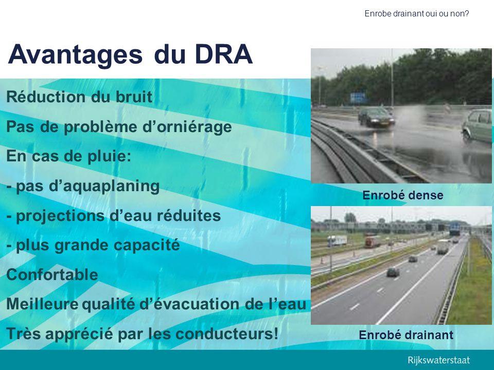 Avantages du DRA Réduction du bruit Pas de problème d'orniérage