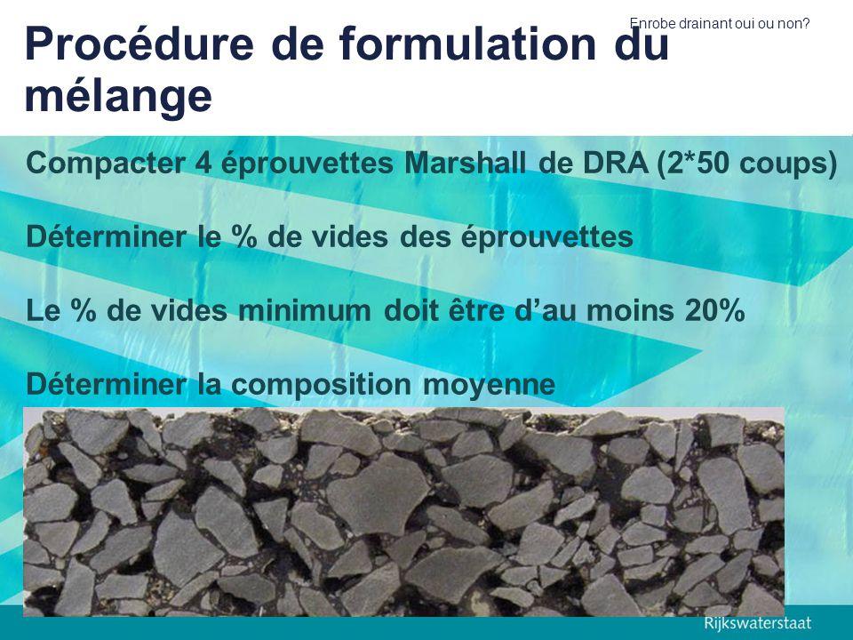Procédure de formulation du mélange