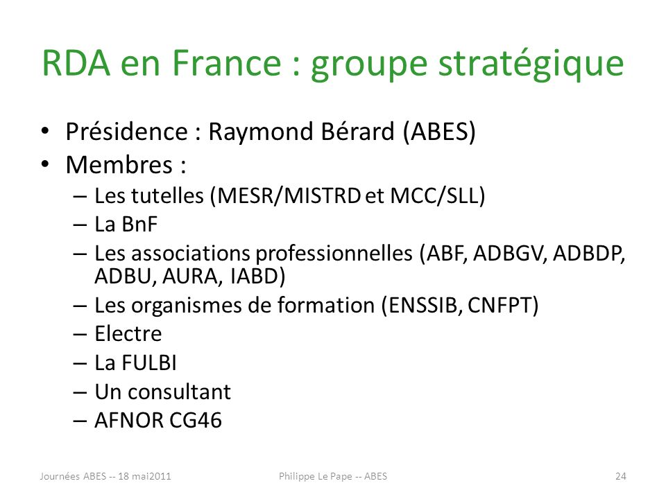 RDA en France : groupe stratégique