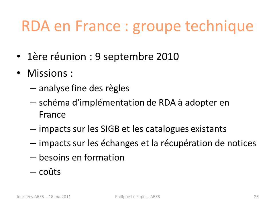 RDA en France : groupe technique