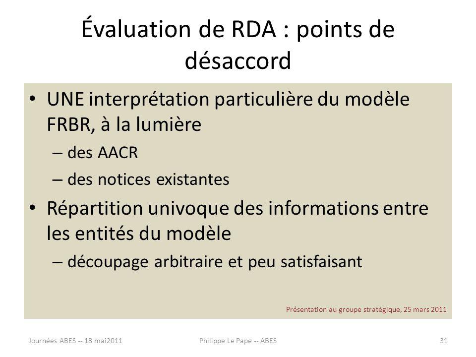 Évaluation de RDA : points de désaccord
