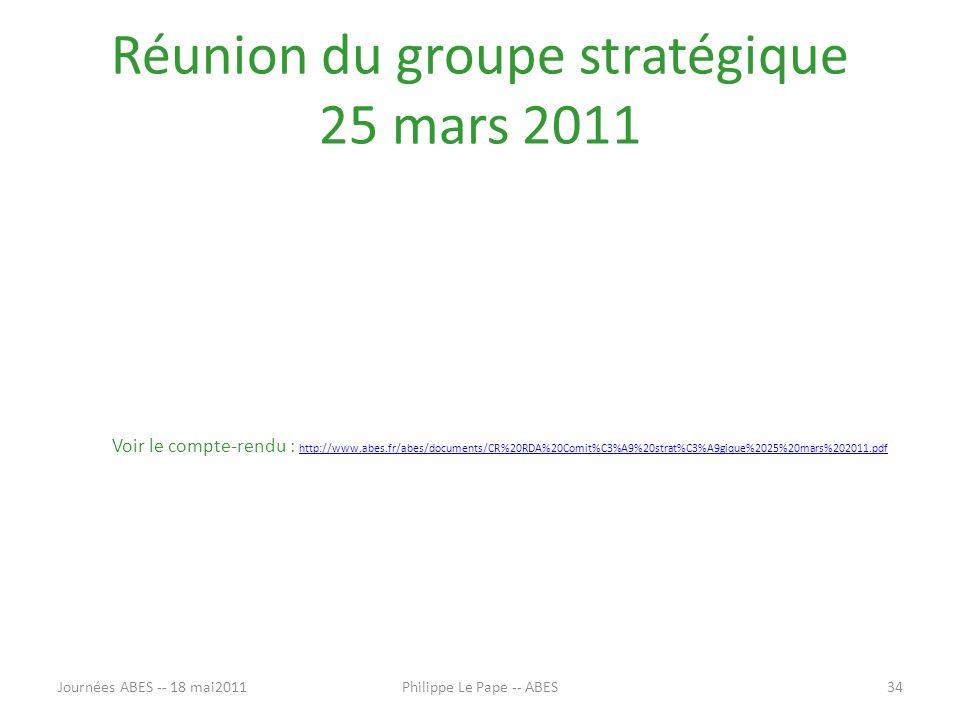 Réunion du groupe stratégique 25 mars 2011