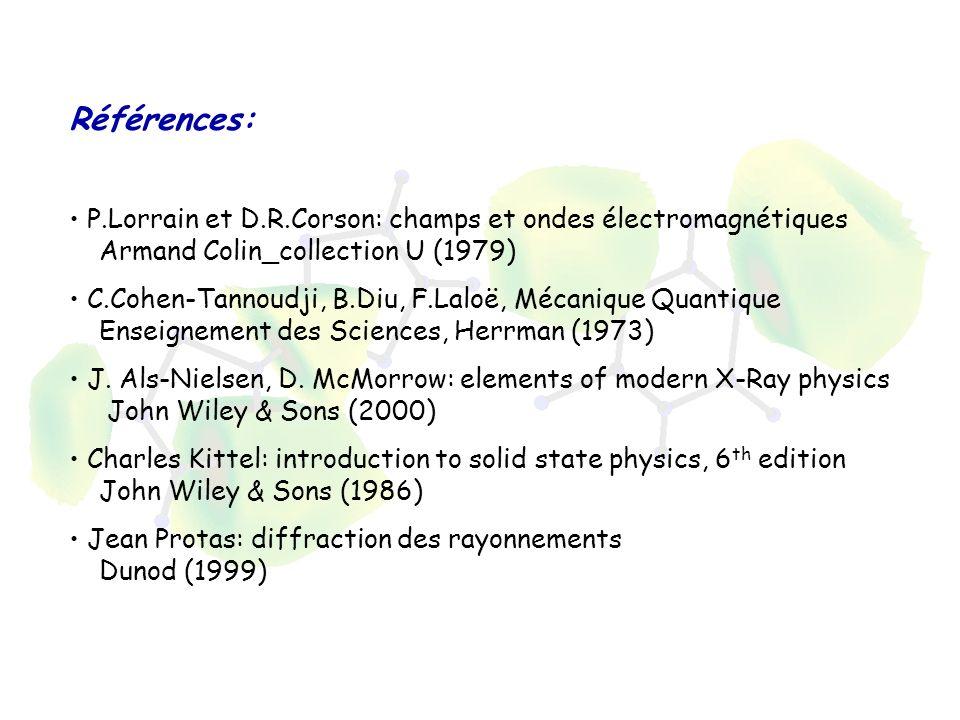 Références: P.Lorrain et D.R.Corson: champs et ondes électromagnétiques Armand Colin_collection U (1979)