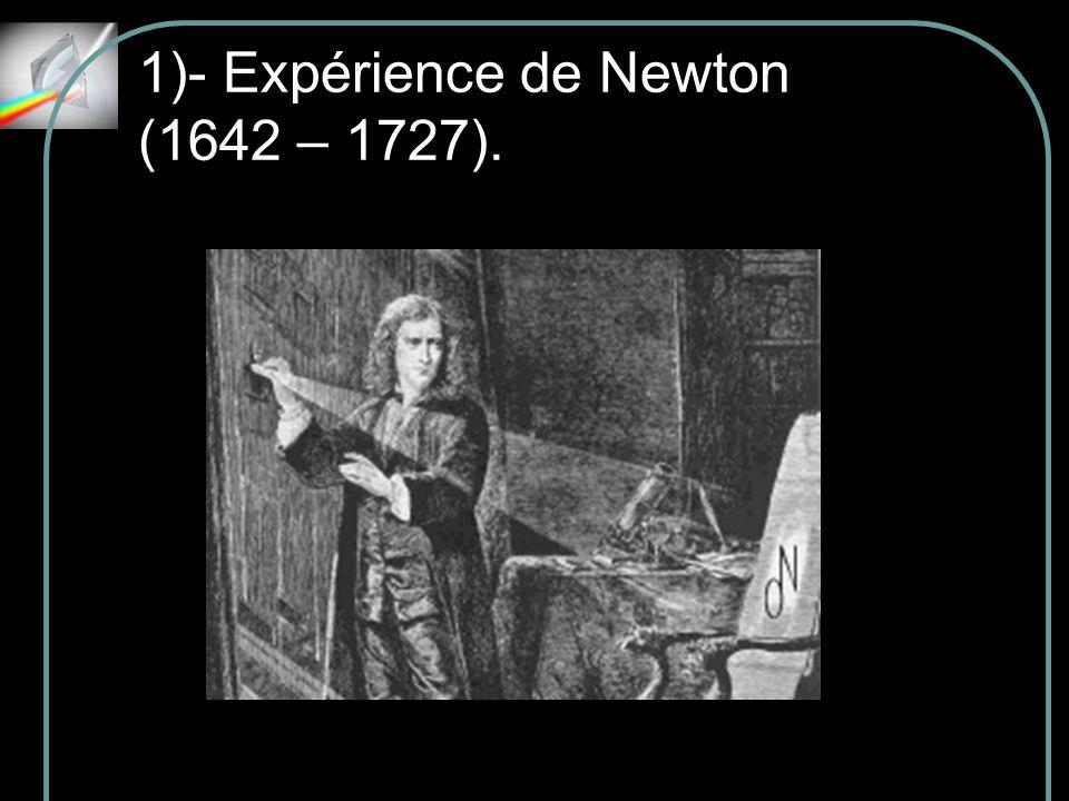 1)- Expérience de Newton (1642 – 1727).