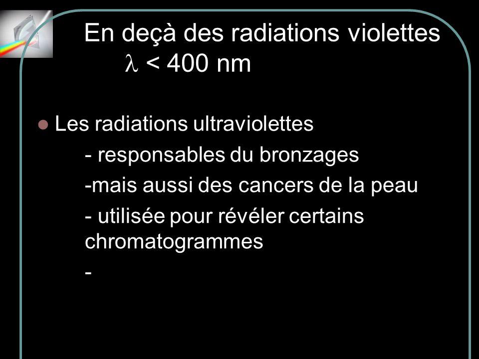 En deçà des radiations violettes l < 400 nm