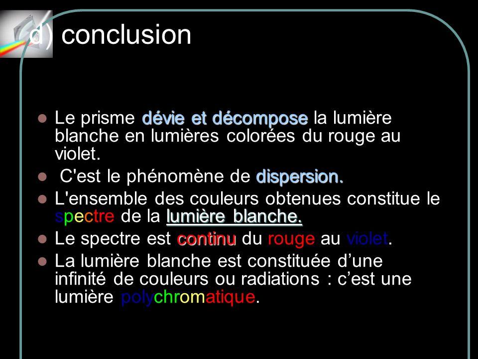 d) conclusionLe prisme dévie et décompose la lumière blanche en lumières colorées du rouge au violet.