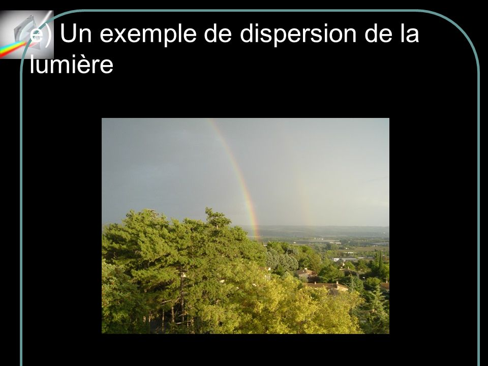 e) Un exemple de dispersion de la lumière