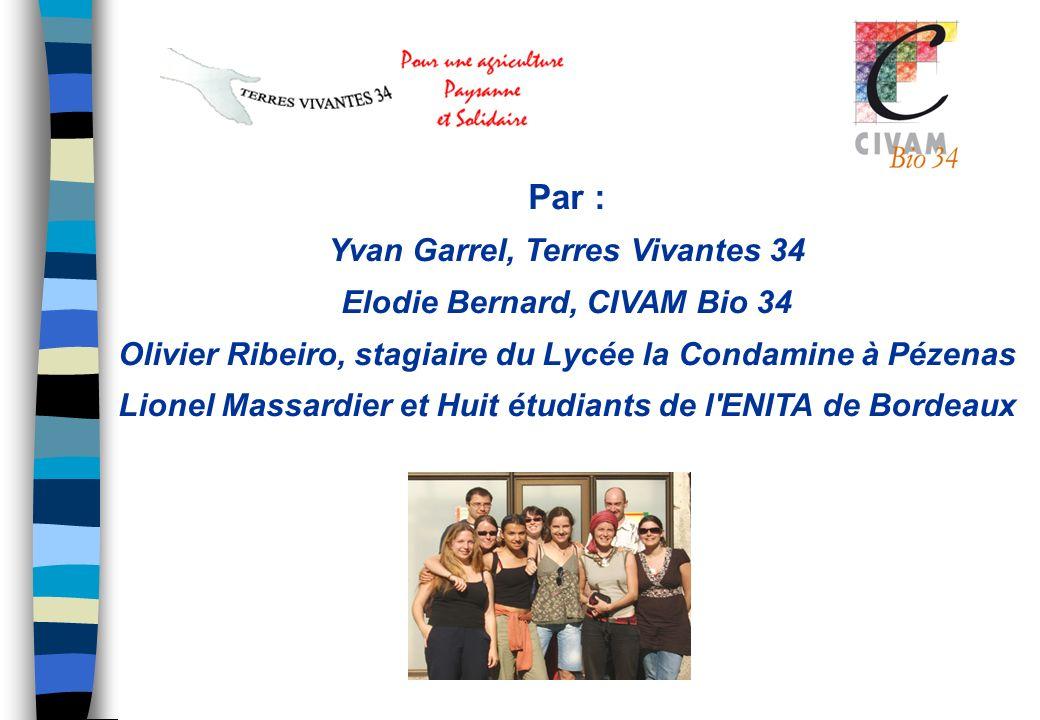 Par : Yvan Garrel, Terres Vivantes 34 Elodie Bernard, CIVAM Bio 34