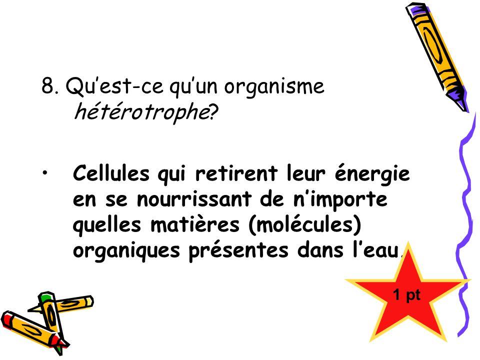 8. Qu'est-ce qu'un organisme hétérotrophe