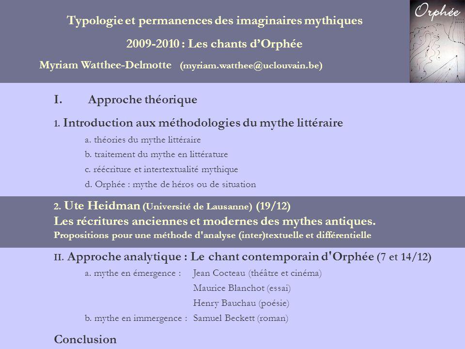 Typologie et permanences des imaginaires mythiques