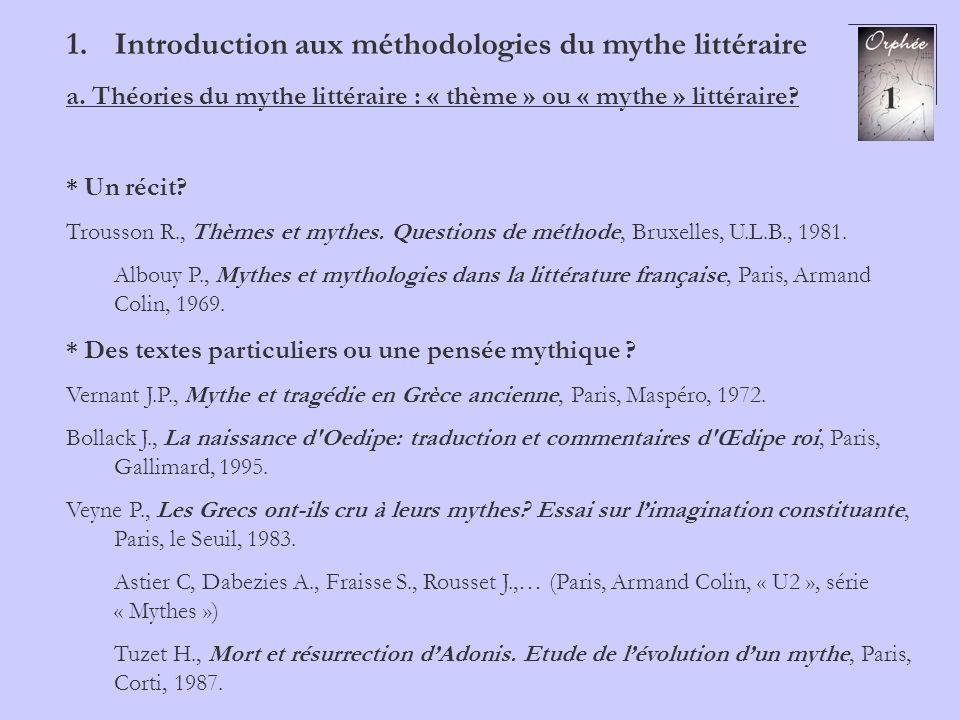 Introduction aux méthodologies du mythe littéraire