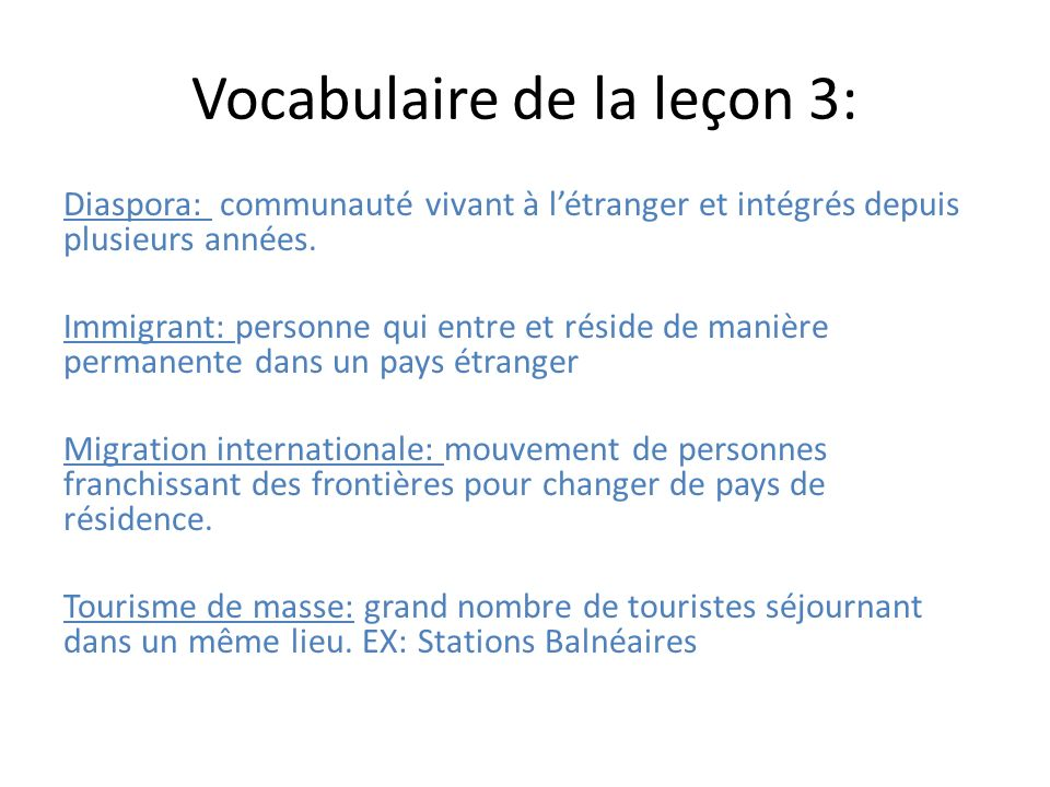 Vocabulaire de la leçon 3: