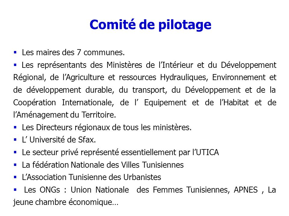 Comité de pilotage Les maires des 7 communes.