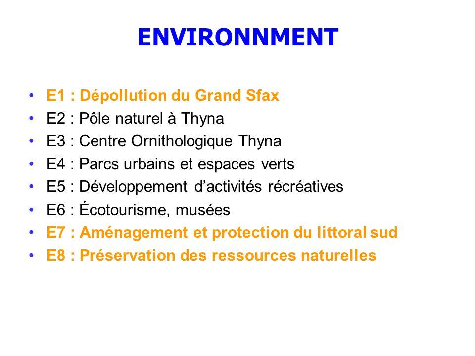 ENVIRONNMENT E1 : Dépollution du Grand Sfax E2 : Pôle naturel à Thyna
