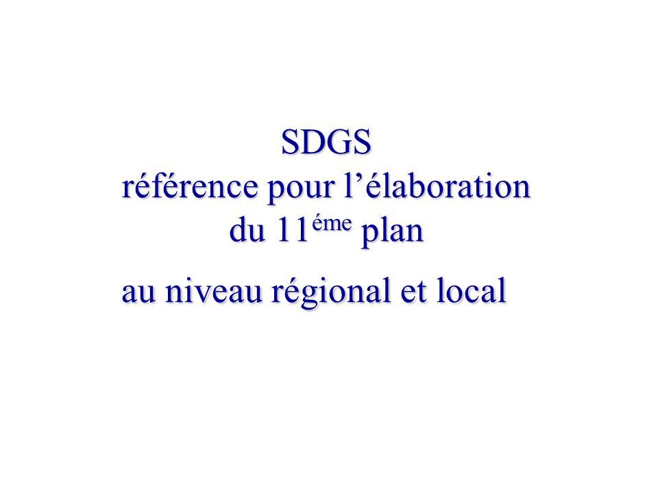 SDGS référence pour l'élaboration du 11éme plan au niveau régional et local