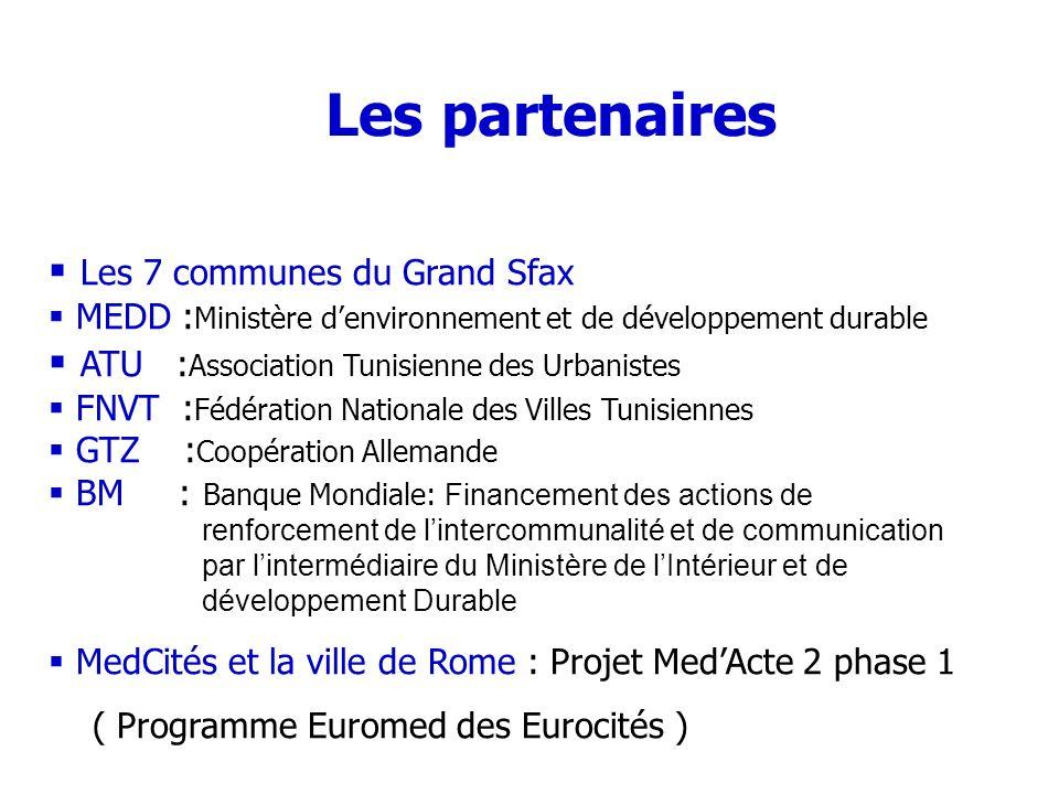 Les partenaires Les 7 communes du Grand Sfax
